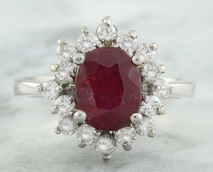 3.50 Carat Ruby And Diamond Ring In 18K Solid White Gold *** No Reserve ***
