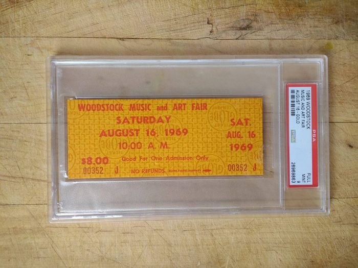 Woodstock Festival 1969 Ticket Saturday August 16,1969 PSA Grade Full mint 9