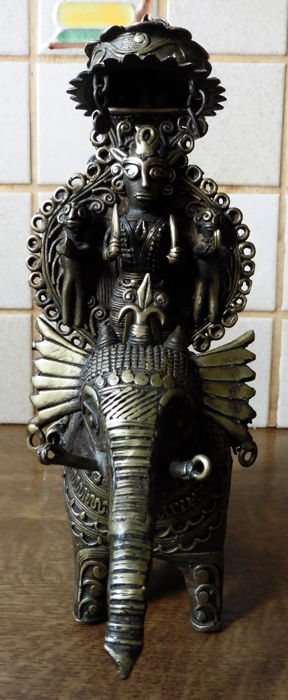 Brass God on elephant (Bastar/Orissa) - India - mid 20th century