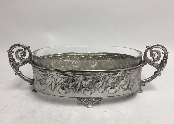 Silver plated ART NOUVEAU plate carrier with refractory baking dish, France, ca. 1925 23/3