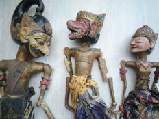 Three Antique Wayang Puppets-Java-Indonesia