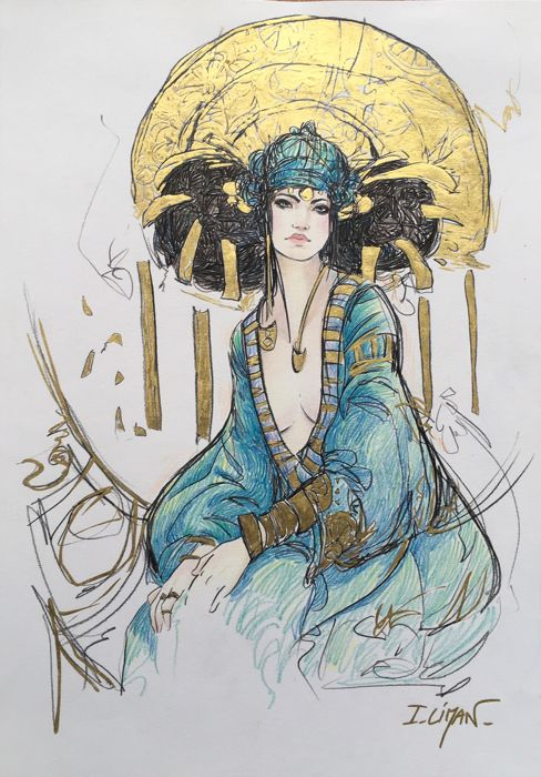 Liman, Ingrid - Original gold leaf drawing - Woman and Art Nouveau