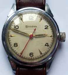 Bulova - Needles gold & green - red central second hand - Heren - 1950-1959