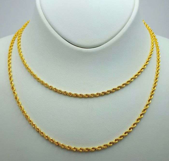 80 cm Rope Chain, 14Ct Yellow Gold,  Thickness: 2.10 mm