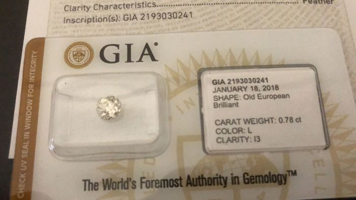GIA certifed diamond 0,78ct low reserve