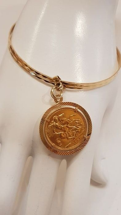 Cuff bangle in 18 kt rose gold with 22 kt sterling coin 19.5 cm No minimum price