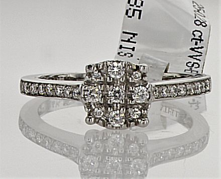 0.28 ct Diamond Ring -  D-E  , VVS - 14k White gold - 3.01 gram - size : 6 (USA), 52 (French ) -  UNTREATED.