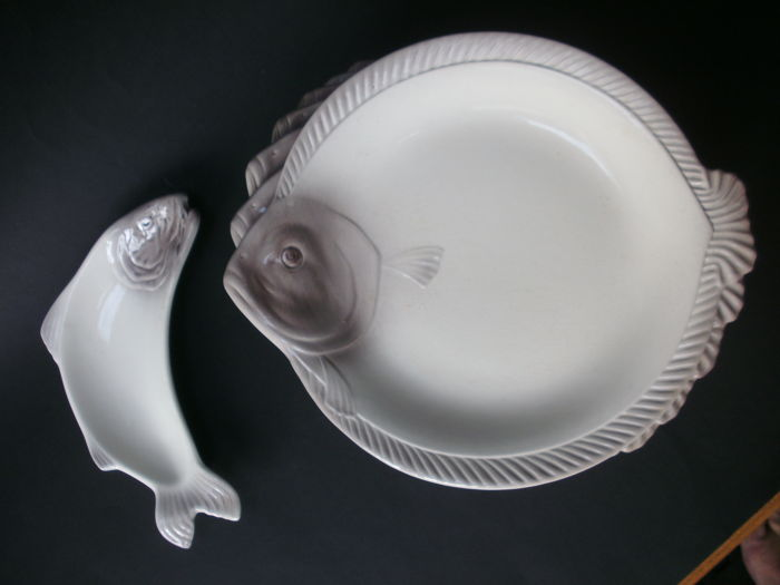 Waechtersbach - Adolf Müller ceramics: fish bone dish and 8 plates