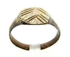 Early Medieval Bronze Decorated Viking Ring  - 18 mm