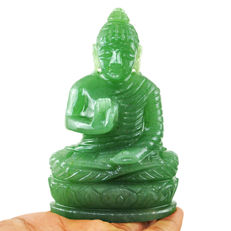 Green Jade Carved Lord Buddha - 106x43x20 mm - 252 gm