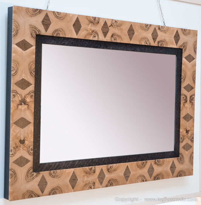 Wall mirror with a completely unique design - in solid wenge and olive wood, covered with coloured maple burr