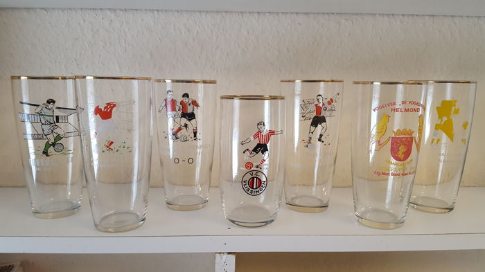 Collection of beer glasses on Dutch football, 1960s, fortuna 54 - feyenoord - vlissingen - europa cup - championship,...