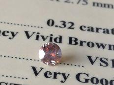 0.32 Ct - Loose Diamond - Fancy Vivid Brown / VS1 / 3VG ** No Reserve **