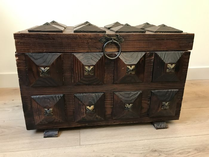 Hard wooden box with iron handles, 20th century, Belgium