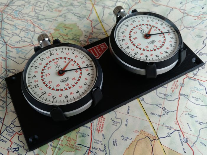 2X HEUER timers: 2x vintage HEUER 1/10 Th sec Stopwatches Rally / Race dash mounted set.