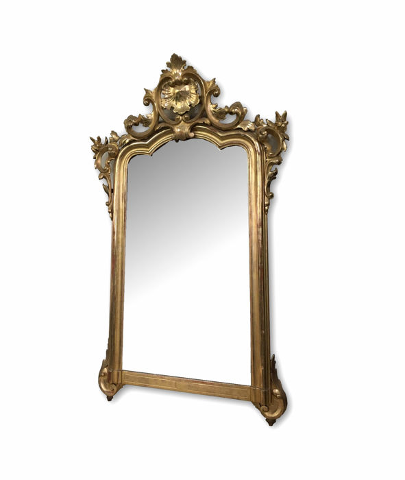 Louis Philippe mirror carved in wood and gilded in gold leaf - Naples, first half of the 19th century