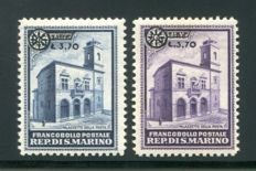 San Marino 1934 - 'Palazzetto della Posta' overprinted complete series of 2 stamps in mint condition - Sass.  N°  184/185