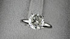 AIG  2.00 ct round diamond ring made of 14 kt white gold - size 7