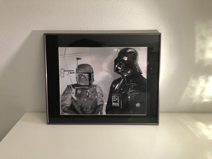 star wars darth vader and boba fett signed mono photo. Black Bedroom Furniture Sets. Home Design Ideas