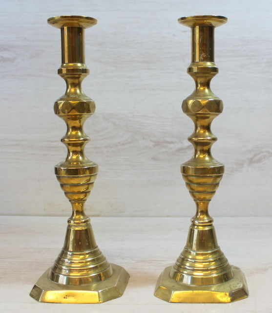 """A Pair Of Antique Brass Candlesticks """"Solid English"""