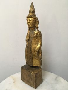 Wooden Gilt Standing Buddha. Burma (Mandalay) - late 19th/early 20th century.