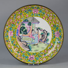 Ennameled Copper Plate, - China  - ca 1850/1880