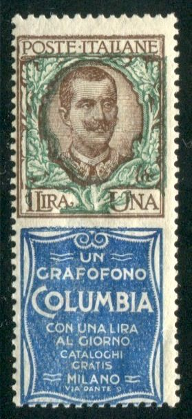 Italy, Kingdom, 1924/1925 – Advertising stamps, high value, 1 lire Columbia – Sass. No.  19.