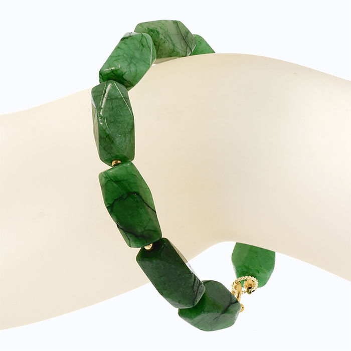 18k/750 yellow gold bracelet with emeralds -   Length: 21 cm