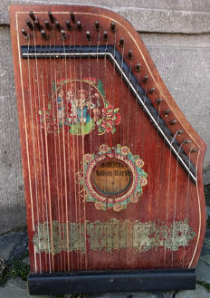Antique Konzert Salon Harfe Zither - German - Early 20th Century