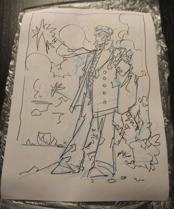 Azpiri, Alfonso - Original sketch tribute to 'Corto Maltese'