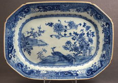 Very large octagonal serving dish with decoration of peacocks in rocky landscape - China - circa 1770
