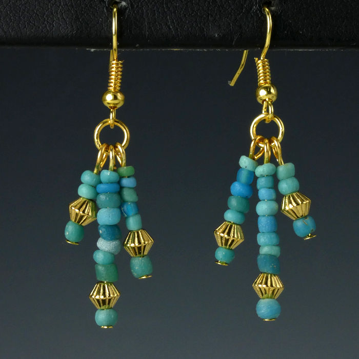 Earrings with Roman turquoise glass beads - 47 mm