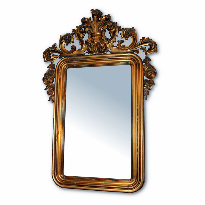 Louis Philippe wooden mirror carved and gilded with gold leaf - Naples - mid-19th century
