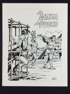 "Galleppini, Aurelio - unpublished cover for Tex no. 164 ""La Danza del Fuoco"" (1974)"
