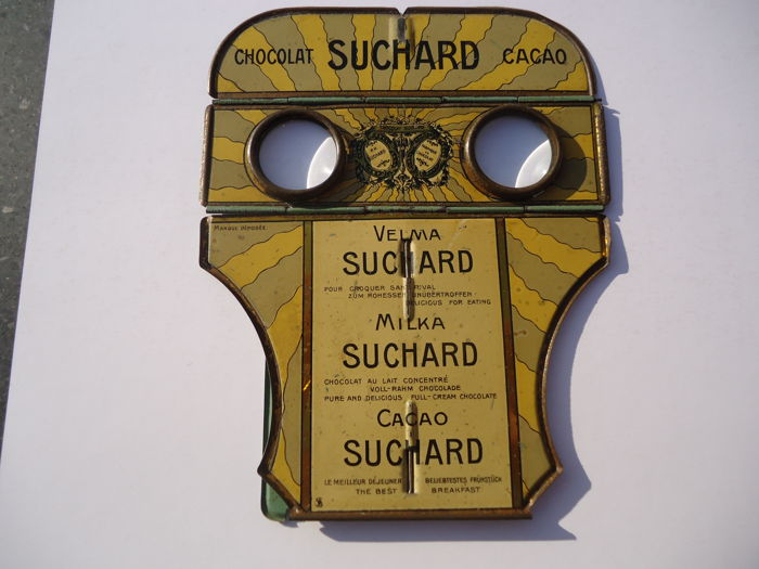 Tin folding stereoscope of Suchard chocolate with 17 images