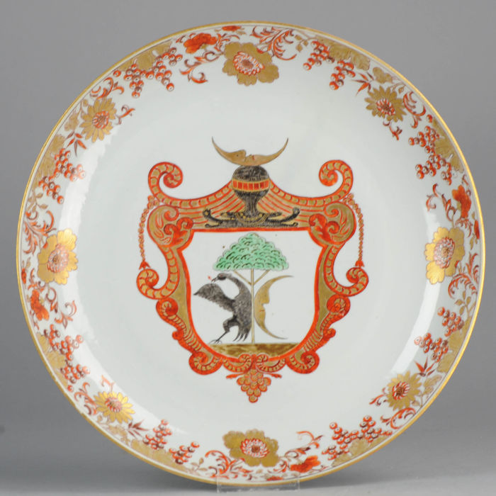 Porcelain charger, Arms of the Amsterdam Tax Collector, guild - China - 18th century (Qing dynasty, 1644-1912)