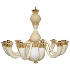 Giò Ponti for Venini - 12-Arm Glass Chandelier 99.81 Colors Ivory and Gold Leaf