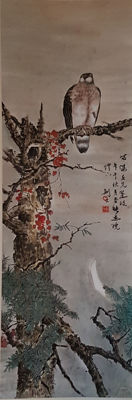 A Hand-painted Chinese scroll painting《高剑父-松鹰图》 - China - late 20th century