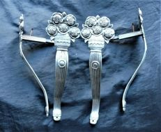 Silver plated bronze curtain braid hooks, Art Deco