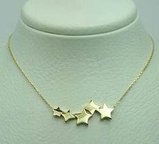14ct Yellow Gold Necklace with star charms, Length 42cm,Total Weight 2.11g