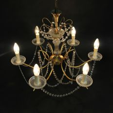 Beautiful 6-arm chandelier with cut Crystal necklaces