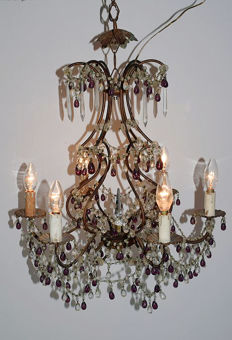 Iron chandelier with micro beads, Italy, 1950s