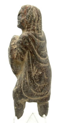 Ancient Gandhara Stone Statue of a Figure in a Robe Holding a Basket - 115mm
