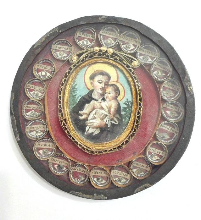 Big  metal reliquary with  20 relics and miniature hand painted - Italy XIX century