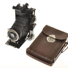 Voigtlander Prominent 6x9, very rare German folding camera, 120 film 6x9cm exposures, with Heliar 10.5cm F:4.5 and case