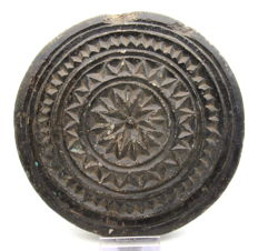 Ancient Gandhara Stone Decorated Circular Panel - 157mm