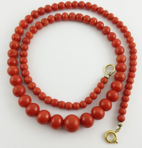 Red coral bead necklace - gold pendant - 46 cm in length