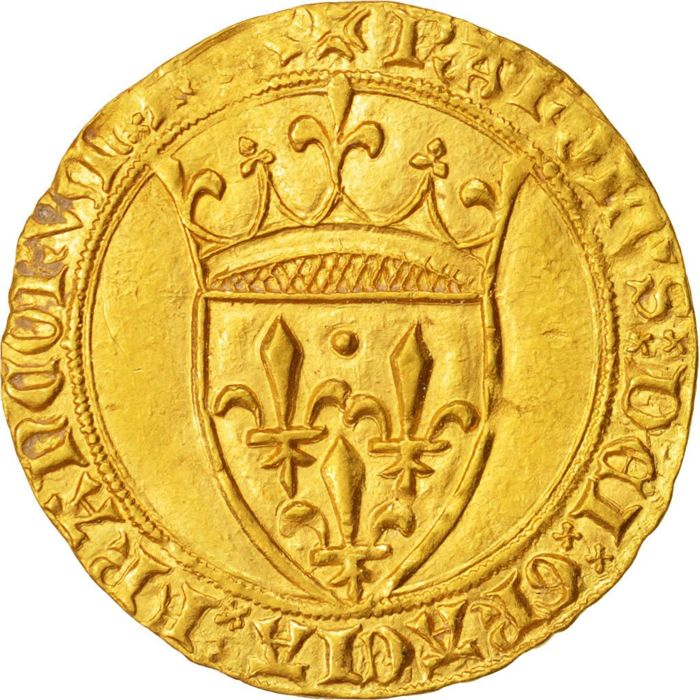 France - Charles VI (1380-1422) - golden shield with crown nd (Montpellier) 4th issuing - gold