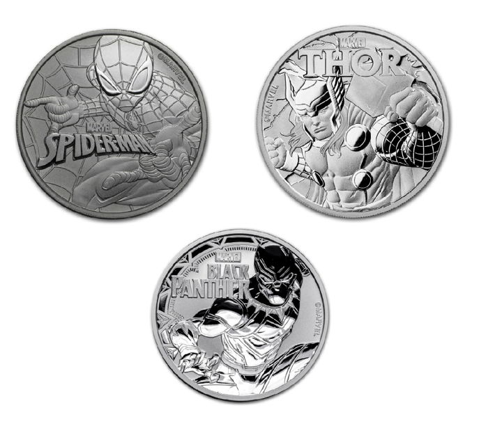 Australia - 3 x 1 AUD - Tuvalu - Marvel Spiderman, 2017, + Thor, 2018, + Black Panther, 2018, - all 3 editions - 999 silver
