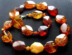 Art deco natural amber necklace cherry, cognac, egg yolk facetted, 925 silver, 30 grams, no reserve price